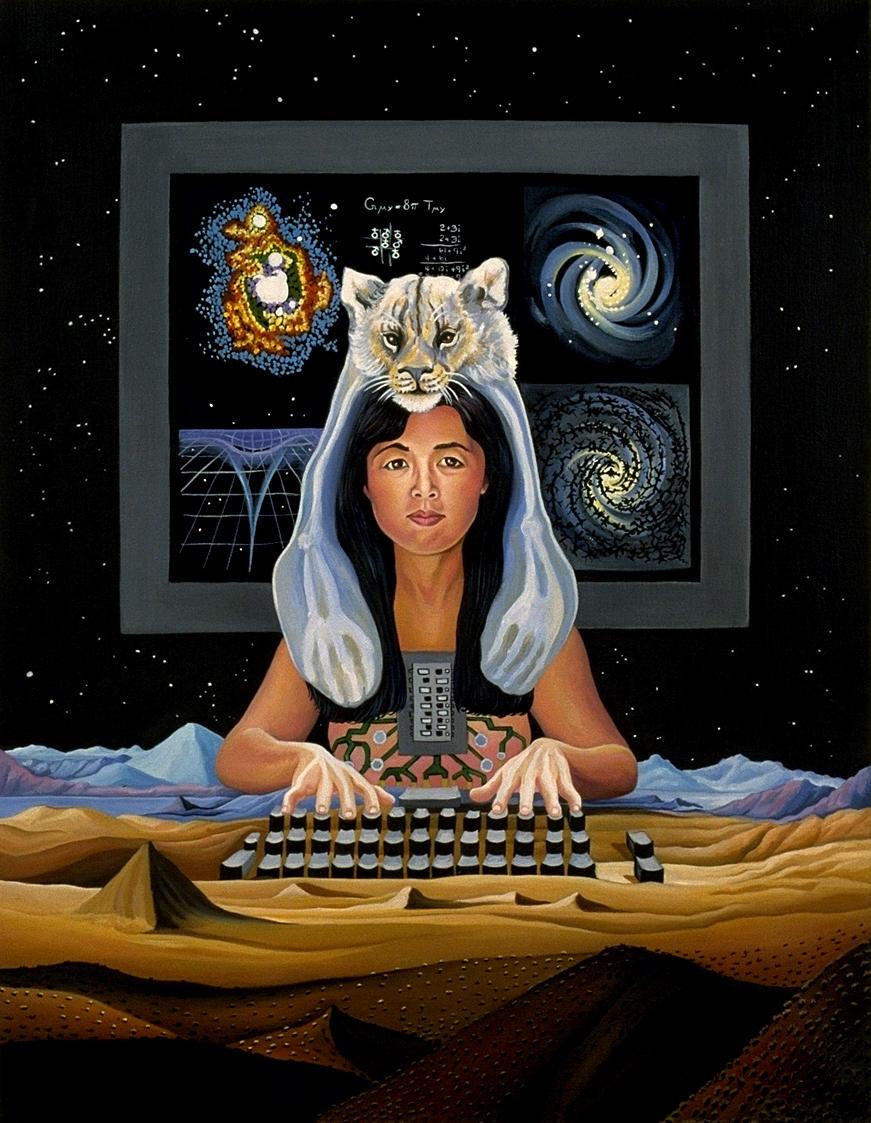 """Lynn Randolph, illustration pour la couverture du livre de Donna Haraway """"Simians, Cyborgs and Women"""", 1991 (deuxième édition)."""
